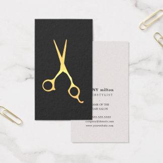 Simple Elegant Grey Faux Gold Scissors Hair Business Card