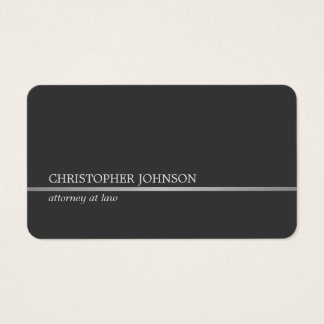 Simple Elegant Grey Faux Silver Line Attorney Business Card