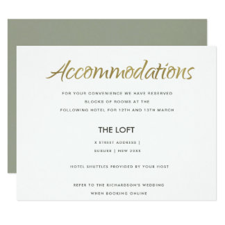 SIMPLE ELEGANT GREY GOLD TYPOGRAPHY ACCOMMODATION CARD