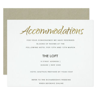 SIMPLE ELEGANT KRAFT GOLD TYPOGRAPHY ACCOMMODATION CARD