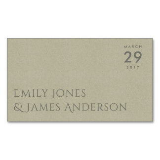 SIMPLE ELEGANT KRAFT GREY TYPOGRAPHY SAVE THE DATE 	Magnetic BUSINESS CARD