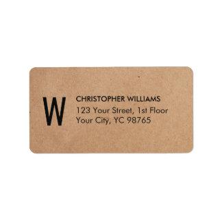 Simple Elegant Kraft Paper Business Monogram Address Label