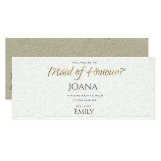 SIMPLE ELEGANT KRAFT TYPOGRAPHY maid of honour Card