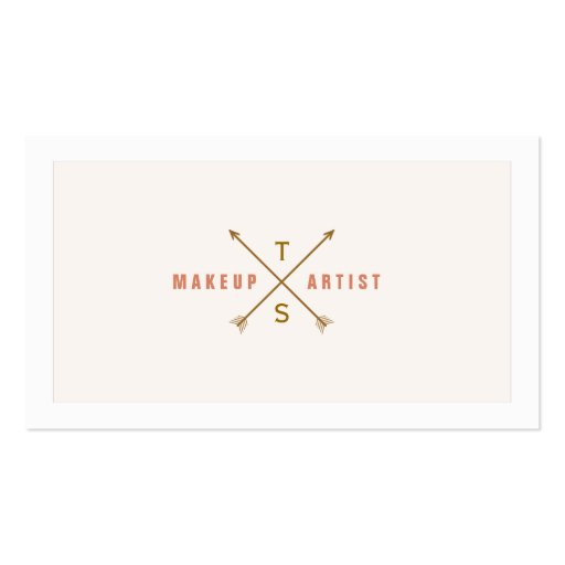 Simple Elegant Makeup Artist Light Pink and Peach Business Cards