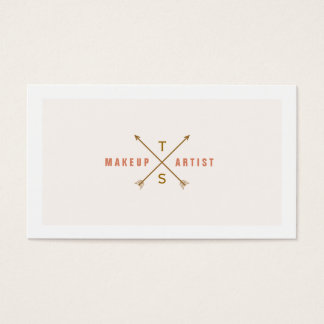 Simple Elegant Makeup Artist Light Pink and Peach Business Card
