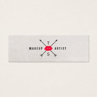 Simple Elegant Makeup Artist Red Kissing Lips Mini Business Card