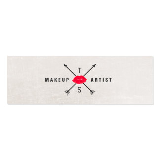 Simple Elegant Makeup Artist Red Kissing Lips Pack Of Skinny Business Cards