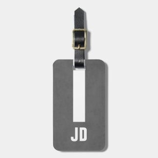 Simple Elegant Manly Texture Grey White Monogram Luggage Tag