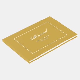 Simple, Elegant Memorial Service Gold Guest Book