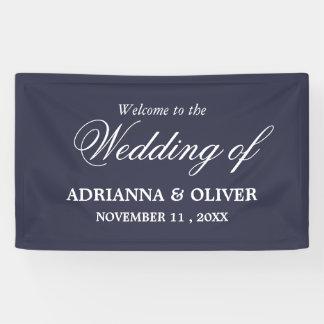 Simple Elegant Navy Blue Welcome Wedding Banner