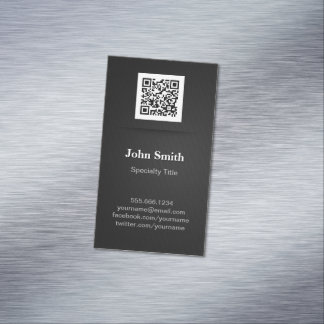 Simple Elegant Plain Black - Professional QR Code Magnetic Business Cards