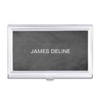 Simple Elegant Plain Texture Grey Business Card Holder