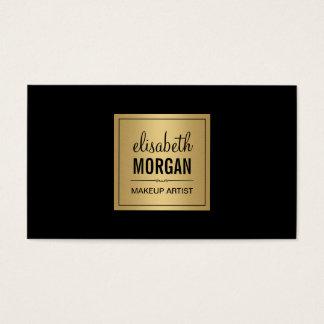Simple Elegant Pure Black and Brushed Gold Design Business Card