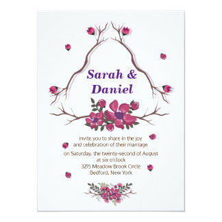 Simple elegant purple floral petals Wedding 14 Cm X 19 Cm Invitation Card