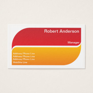 Simple Elegant Red Yellow Split Elements Business Card