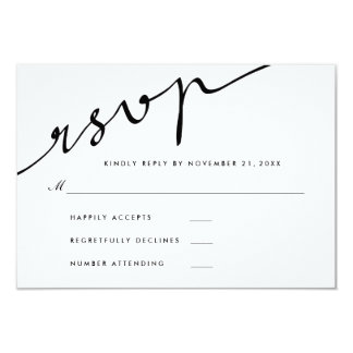 Simple Elegant RSVP Calligraphy Script Wedding Card
