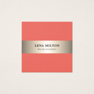 Simple Elegant Salmon Faux Gold Stripe Consultant Square Business Card