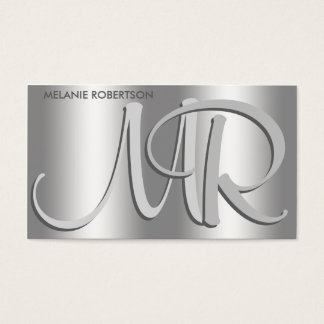 Simple Elegant Silver on Silver Script Monogram Business Card