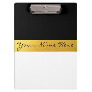 Simple Elegant Stylish White Black & Gold Stripes Clipboards