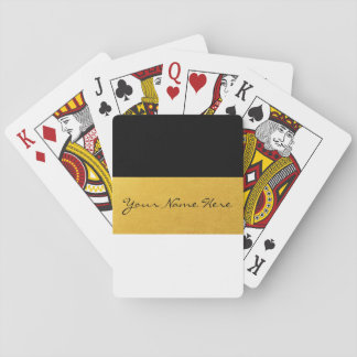 Simple Elegant Stylish White Black & Gold Stripes Poker Deck