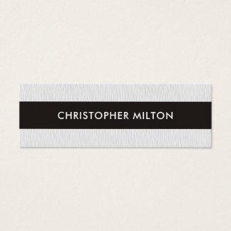Simple Elegant Texture White Black Stripe Attorney Mini Business Card