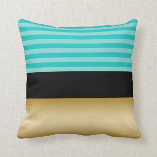 Simple Elegant Turquoise Striped Black and Gold Throw Pillow