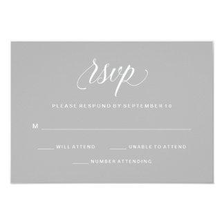 Simple Elegant Typography Gray RSVP 9 Cm X 13 Cm Invitation Card