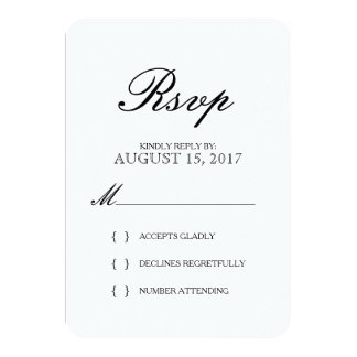 Simple Elegant Typography Wedding RSVP Card