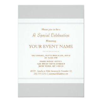 """Simple Elegant Vintage Light Gray Professional 5"""" X 7"""" Invitation Card"""