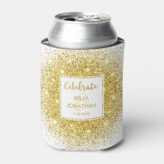 Simple Elegant Wedding Gold Glam Glitter Custom Can Cooler