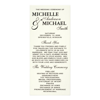 Simple Elegant Wedding Program Custom Rack Cards