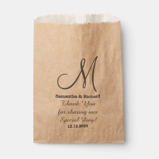 Simple Elegant Wedding Thank you Monogrammed Favour Bag