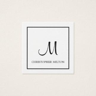 Simple Elegant White Black Monogram Attorney Square Business Card
