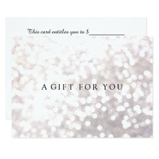 Simple Elegant White Bokeh  Gift Certificate Card