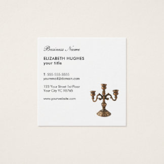 Simple Elegant White Copper Antique Candelabra Square Business Card