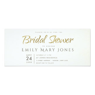 SIMPLE ELEGANT WHITE GREY TYPOGRAPHY Bridal Shower Card