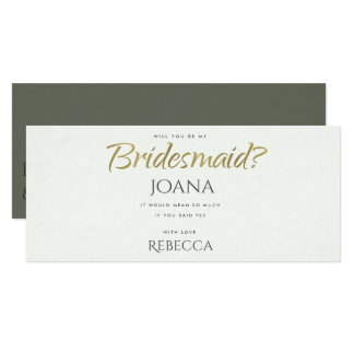 SIMPLE ELEGANT WHITE GREY TYPOGRAPHY Bridesmaid Card