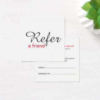 Simple Elegant White Red Referral Card Beauty