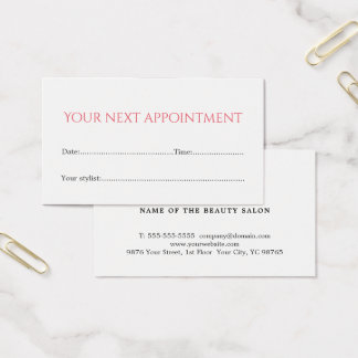 Simple Elegant White Rose Beauty Appointment Card