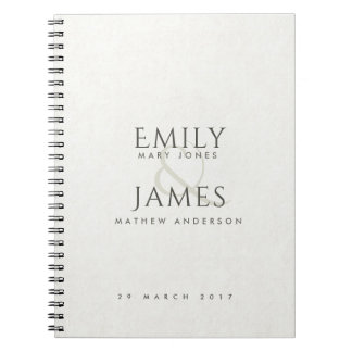 SIMPLE ELEGANT white TYPOGRAPHY TEXT ONLY WEDDING Notebook