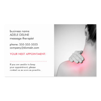 Simple Elegant Women Back Massage Appointment Card Pack Of Standard Business Cards