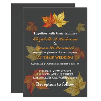 Simple Falling Maple Leaves Wedding Invitation