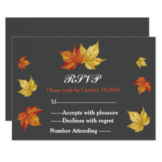 Simple Falling Maple Leaves Wedding RSVP 9 Cm X 13 Cm Invitation Card