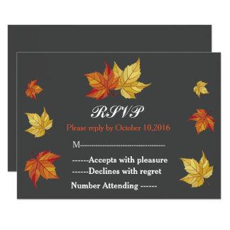 Simple Falling Maple Leaves Wedding RSVP Card