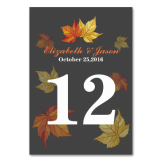 Simple Falling Maple Leaves Wedding Table Card