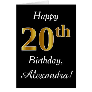Simple Faux Gold 20th Birthday + Custom Name Card