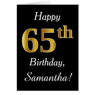 Simple Faux Gold 65th Birthday + Custom Name Card