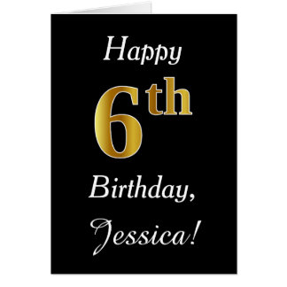 Simple Faux Gold 6th Birthday + Custom Name Card