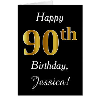 Simple Faux Gold 90th Birthday + Custom Name Card