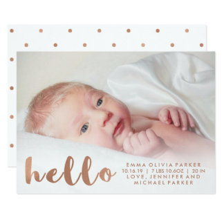 Simple Faux Rose Gold Hello Birth Announcement